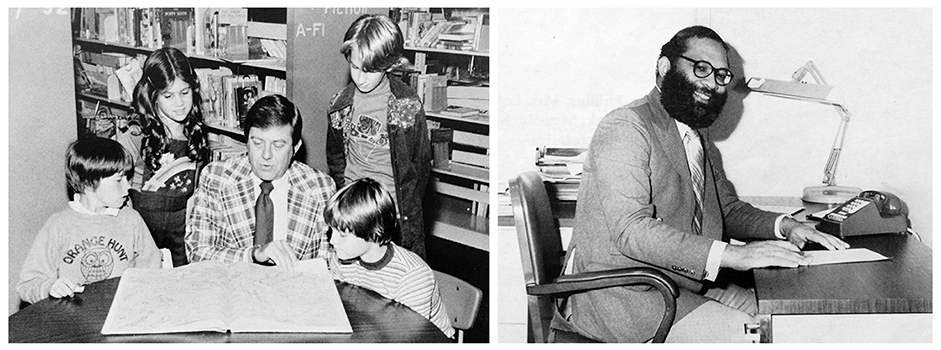 Yearbook portraits of principals Ronald West and John Randall. West is seated at a circular table in the library and is reading a book to a group of students. Randall is seated at his desk, looking up from paperwork.