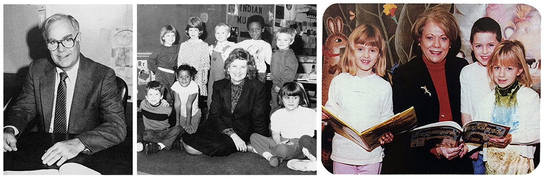 Yearbook portraits of principals Earl Williams, Pam Readyhough, and Janet Trout Barbee. Williams is seated at his desk, looking up from paperwork. Readyhough is sitting on the floor, and is surrounded by a large group of children. Barbee is holding a book and is reading to a group of students.