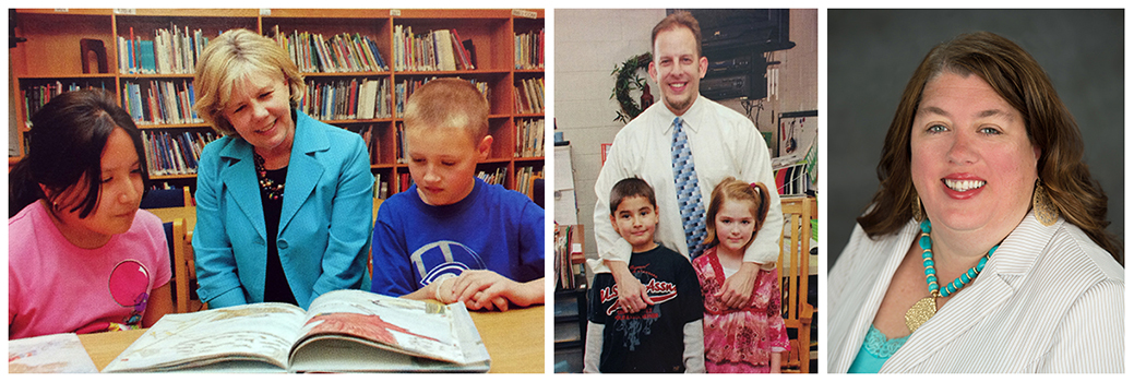 Yearbook portraits of principals Judy Ryan, Jason Pensler, and Karen Tuttle. Ryan is seated at a table in the library and is watching two students read a book. Pensler is standing in a classroom with two students. Tuttle's picture is a head-and-shoulders staff portrait.