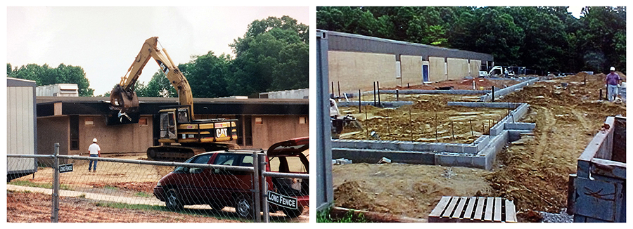 Collage of two color photographs showing progress on the renovation and addition to Orange Hunt Elementary School. On the left, a backhoe can be seen tearing down the earlier addition to our building. On the right, a new cinderblock foundation can be seen where the old addition had been located. The wall outlines are in place.