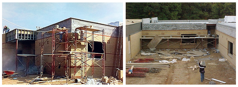 Collage of two color photographs showing progress on the renovation and addition to Orange Hunt Elementary School. On the left, the new addition walls are complete and the building is under roof. A worker, standing on scaffolding, is placing a brick veneer on the building. On the right, the new courtyard created during the project is visible. A worker is carrying a bucket of cement toward scaffolding set up along the wall where a brick veneer is being placed. The ground is bare earth. Construction supplies are stacked on the left, and construction debris is strewn about the ground near the scaffolding.