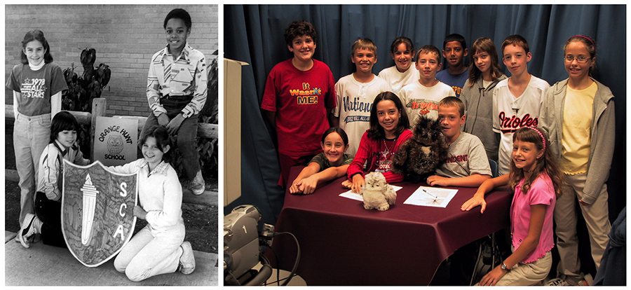 Collage of two photographs of Orange Hunt students. On the left is a black and white photograph of four S.C.A. officers. There is a wooden fence behind them. One boy is seated on the fence railing, a girl to his left leans against it, and two students are kneeling on the ground in front of them. The students in front are holding a S.C.A. banner. Behind the banner is a picture of our owl mascot. The girl on the left is wearing a t-shirt with text that reads: 1978 All Stars. In the color photograph on the right, a group of 12 students comprising the TV news crew and on-camera anchors are posed around the news desk. The picture was taken in the early 2000s and a camera can be seen in the left foreground of the image. Two of the children are holding stuffed toy owls.